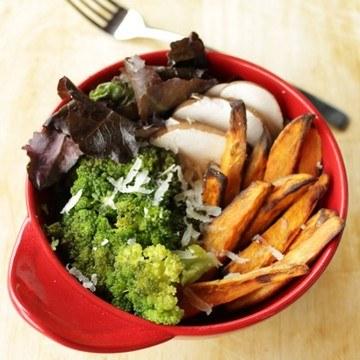 Rezept Süßkartoffel Pommes Broccoli Bowl