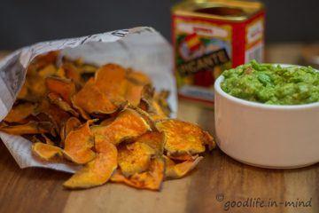 Rezept Süsskartoffelchips mit Guacomole