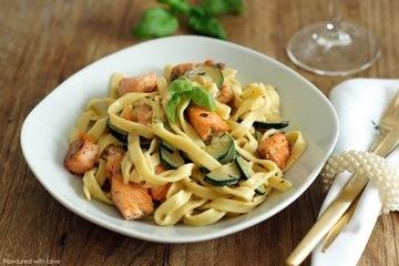 Rezept Tagiatelle mit Zucchini und Lachs