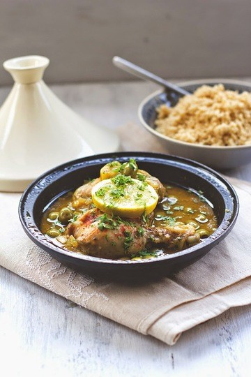 Rezept Tajine mit Hähnchenschenkel, Oliven und Zitrone