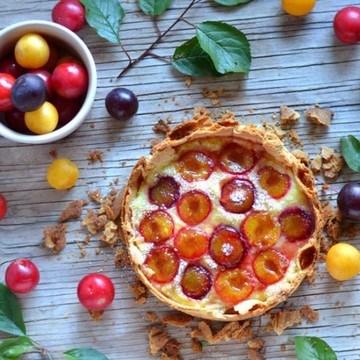 Rezept Tarte mit Pudding und Pflaumen