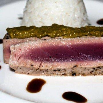 Rezept Thunfischsteak mit Honig - Wasabi Aufstrich an Jasminreis