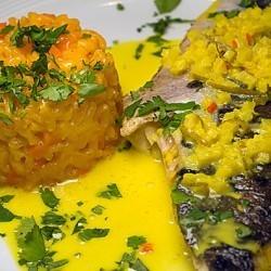 Rezept Tigerwels mit Karottenrisotto und Ingwersauce