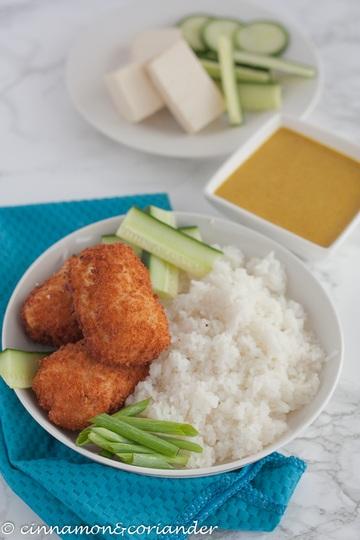 Rezept Tofu Katsu Curry| Knusprige Tofu Schnitzel mit Curry Sauce & Reis