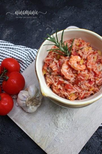Rezept Tomatenreis mit Garnelen
