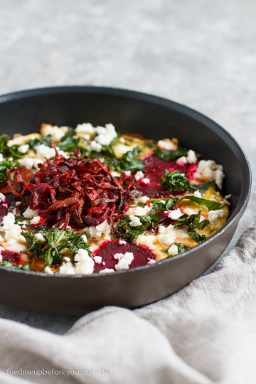 Rezept Topinambur-Frittata mit Grünkohl und Roter Bete