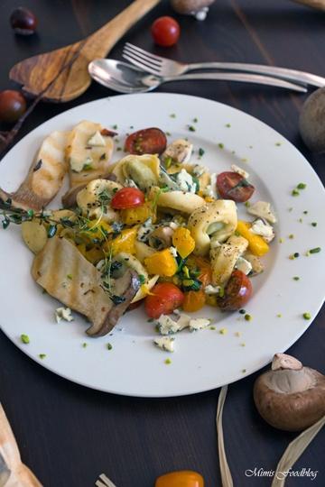 Rezept Tortellini mit Kürbis, Kräuterseitlingen und Spinat
