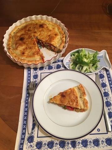 Rezept Tourte au thon et aux poivrons (Thunfisch-Paprika-Pastete)