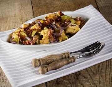 Rezept Trauben Salat mit Kochkäse Croutons