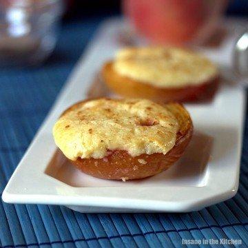 Rezept Überbackene Pfirsich-Hälften mit Cheesecake Füllung