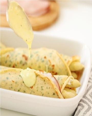 Rezept Überbackene Spargel Crêpes mit Béchamelsauce