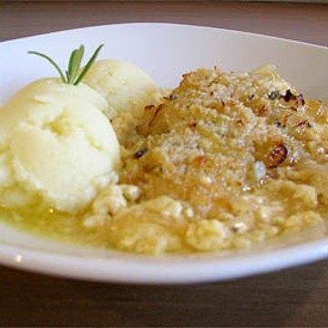 Rezept Überbackener Kabeljau in Biersauce unter einer Zwiebelkruste