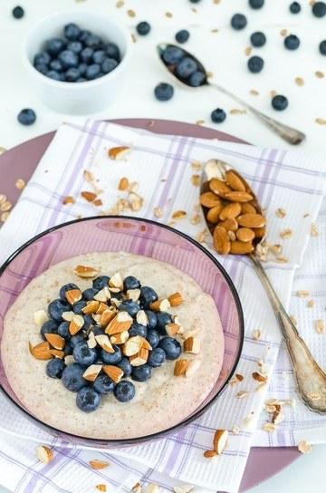 Rezept Vanillepudding Oats mit Blaubeeren und Mandeln