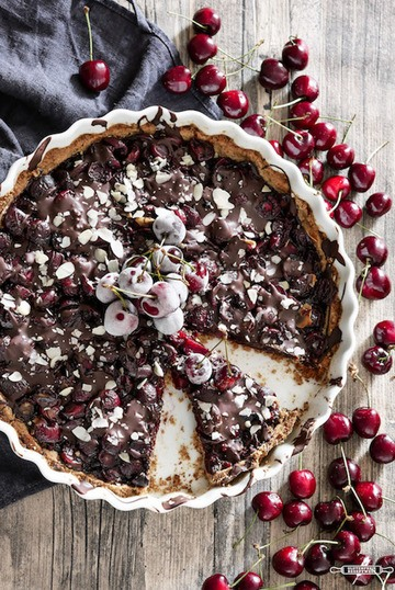 Rezept Vegan - glutenfreie Kirschtarte mit Schokolade