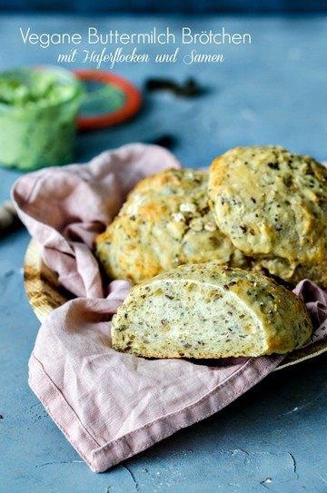 Rezept Vegane Buttermilch-Brötchen mit Haferflocken
