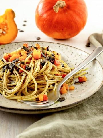 Rezept Vegane Spaghetti mit Kürbiskernpesto