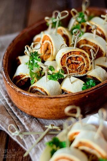 Rezept Vegane Tortillaröllchen mit Karotten-Bohnencreme