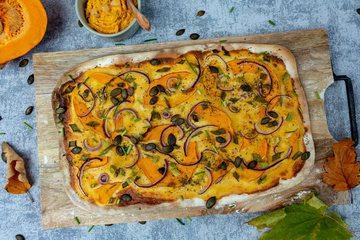 Rezept Veganer Kürbis-Flammkuchen