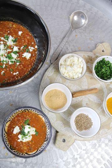 Rezept Vegetarische Harira mit Feta - arabische Linsensuppe