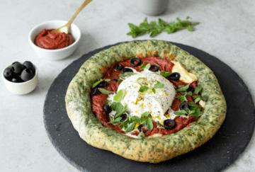 Rezept Vegetarische Protein-Pizza mit Spinatteig