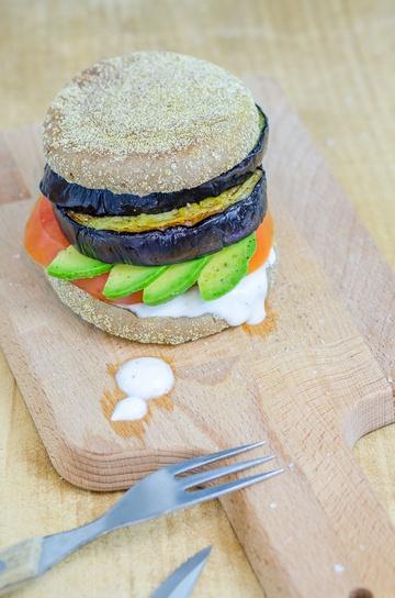 Rezept vegetarischer Auberginen Burger