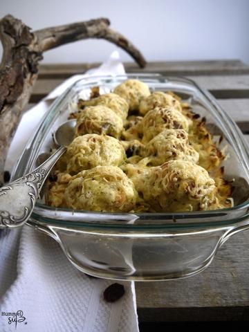 Rezept Vegetarischer Wirsing-Cranberry Auflauf, mit überbackenen Knödeln