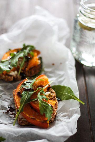 Rezept Vegetarisches Sandwich mit Kürbis und Ziegenkäse