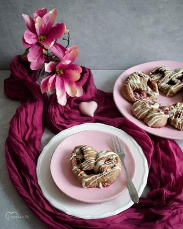 Rezept Vollkorn-Himbeerherzen mit weißer Schokolade und Mohn