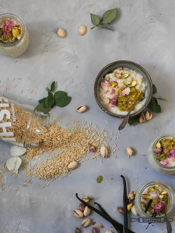 Rezept Vollkorn Jasmin Reis - Pudding mit Pistaziencreme und Vanille, vegan und glutenfrei