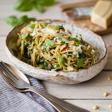 Rezept Vollkorn-Spaghetti mit Spinat-Pesto