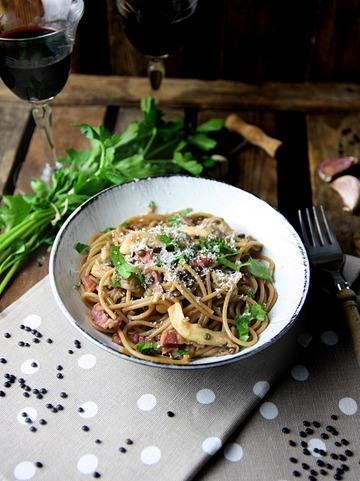 Rezept Vollkornspaghetti mit Linsen und Speck
