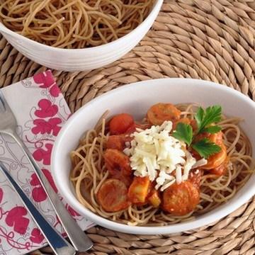 Rezept Vollkornspaghetti mit Wurst und Gemuese