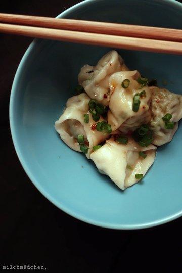 Rezept Wan Tans mit Chiliöl und Würz-Sojasauce
