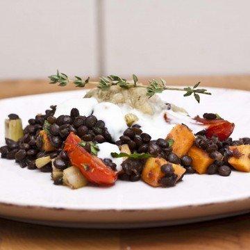 Rezept Warmer Linsensalat mit gegrillter Aubergine