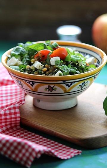 Rezept Warmer roter Linsensalat mit Spinat und Schafskäse