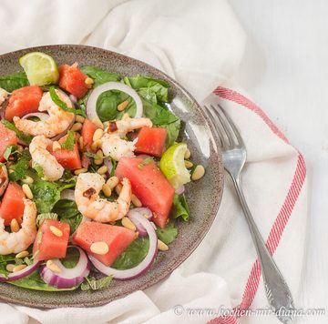 Rezept Wassermelonen-Garnelen-Salat