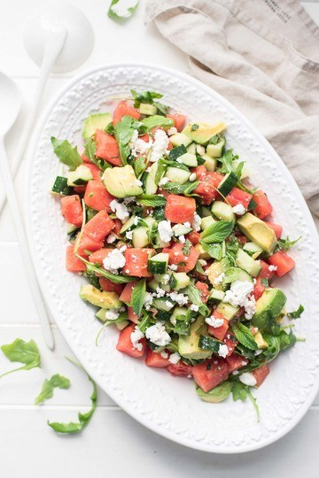 Rezept Wassermelonensalat mit Feta, Gurke & Avocado