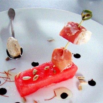 Rezept Wassermelone/Sonnenblumeneis/Culatello-Spiess