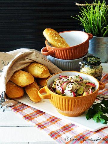 Rezept Weißwurstsalat und Laugenstangen