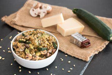 Rezept Weizenreis mit Zucchini und Pilzen