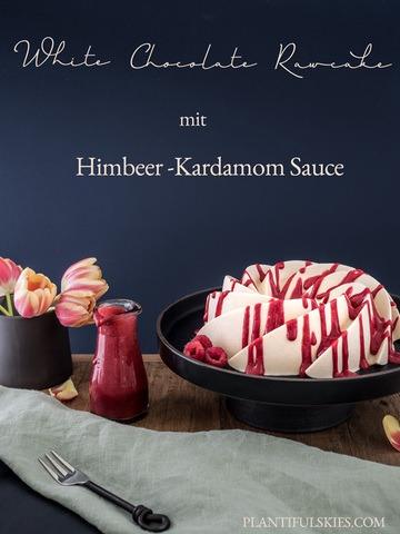 Rezept White Chocolate Rawcake mit Himbeer-Kardamom Sauce