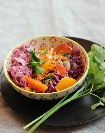 Rezept Wintersalat mit Rotkohl, Staudensellerie, Rote Bete und Karotten