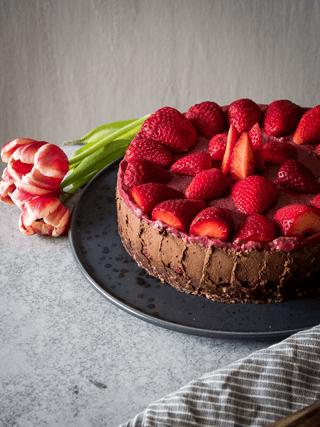 Rezept Zartbitterer Erdbeer Schokoladenkuchen