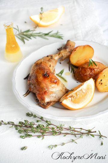 Rezept Zitronen Hähnchenkeulen mit Kräutern