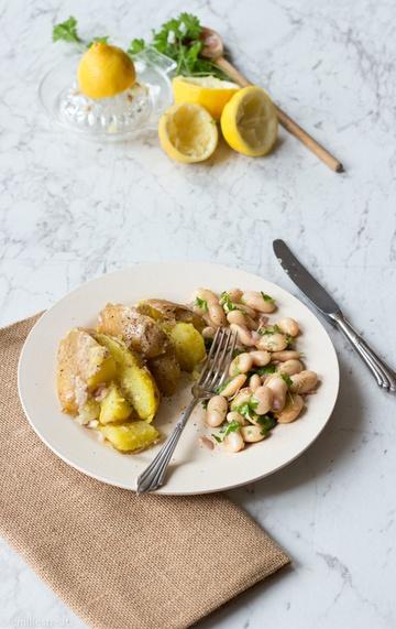 Rezept Zitronenkartoffeln mit weißem Bohnensalat