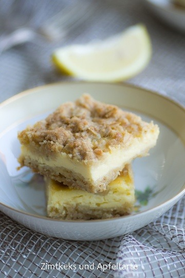 Rezept Zitronig frische Cheesecake-Ecken mit chrunchy Streuseln