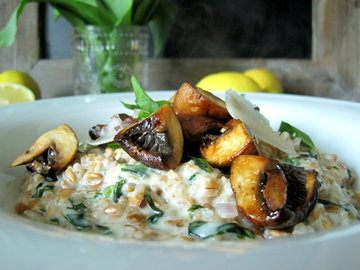 Rezept Zitroniges Dinkelrisotto mit Bärlauch und Pilzen