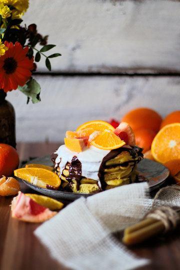 Rezept Zitrus Pancakes mit Schokoladensoße und Ahorn-Creme