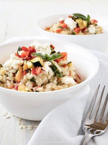 Rezept Zucchini-Paprika-Risotto mit Schafkäse