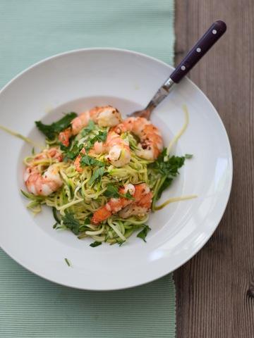 Rezept Zucchini-Spaghetti mit Crevetten